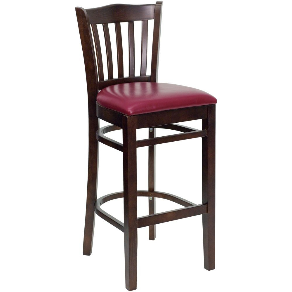 Flash Furniture XU-DGW0008BARVRT-WAL-BURV-GG HERCULES Series Walnut Finished Vertical Slat Back Wooden Restaurant Bar Stool - Burgundy Vinyl Seat