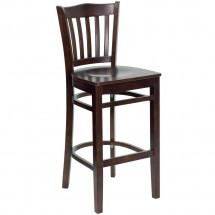 Flash Furniture XU-DGW0008BARVRT-WAL-GG HERCULES Series Walnut Finished Vertical Slat Back Wooden Restaurant Bar Stool