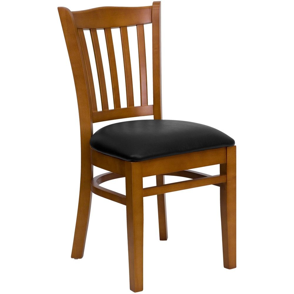 Flash Furniture XU-DGW0008VRT-CHY-BLKV-GG HERCULES Series Cherry Finished Vertical Slat Back Wooden Restaurant Chair - Black Vinyl Seat