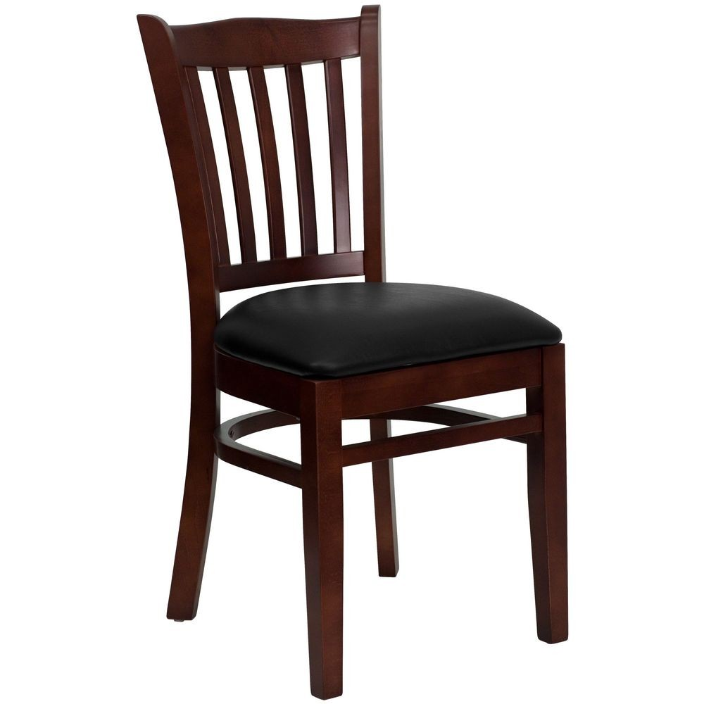 Flash Furniture XU-DGW0008VRT-MAH-BLKV-GG HERCULES Series Mahogany Finished Vertical Slat Back Wooden Restaurant Chair - Black Vinyl Seat