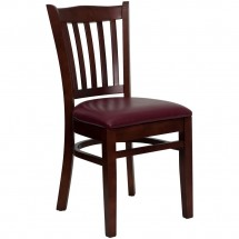 Flash Furniture XU-DGW0008VRT-MAH-BURV-GG HERCULES Series Mahogany Finished Vertical Slat Back Wooden Restaurant Chair - Burgundy Vinyl Seat