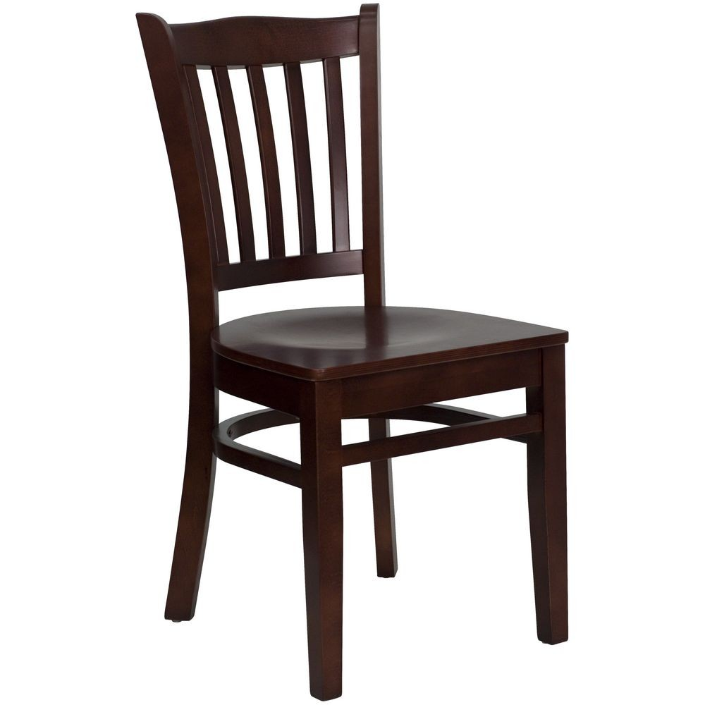 Flash Furniture XU-DGW0008VRT-MAH-GG HERCULES Series Mahogany Finished Vertical Slat Back Wooden Restaurant Chair