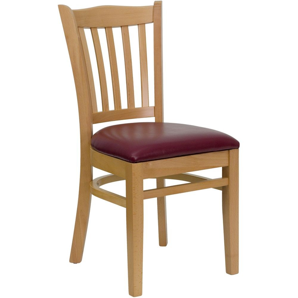 Flash Furniture XU-DGW0008VRT-NAT-BURV-GG HERCULES Series Natural Wood Finished Vertical Slat Back Wooden Restaurant Chair - Burgundy Vinyl Seat