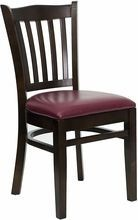 Flash Furniture XU-DGW0008VRT-WAL-BURV-GG HERCULES Series Walnut Finished Vertical Slat Back Wooden Restaurant Chair - Burgundy Vinyl Seat