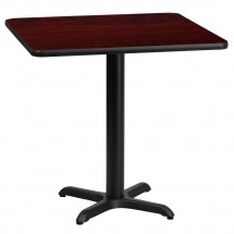 Flash Furniture XU-MAHTB-2424-T2222-GG 24 Square Mahogany Laminate Table Top with 22 x 22 Table Height Base