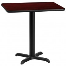 Flash Furniture XU-MAHTB-2430-T2222-GG 24 x 30 Rectangular Mahogany Laminate Table Top with 22 x 22 Table Height Base