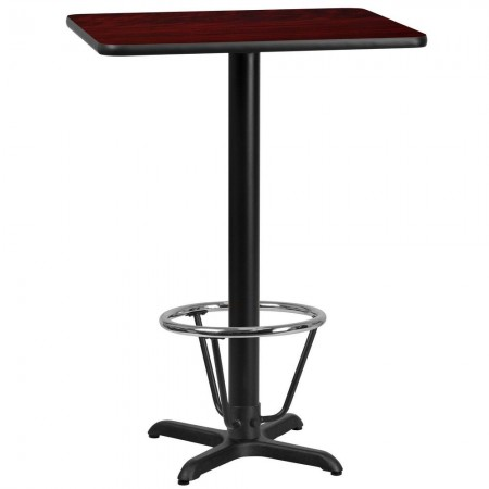 "Flash Furniture XU-MAHTB-2430-T2222B-3CFR-GG 24"" x 30"" Rectangular Mahogany Laminate Table Top with 22"" x 22"" Bar Height Table Base and Foot Ring"