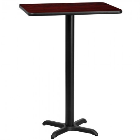 "Flash Furniture XU-MAHTB-2430-T2222B-GG 24"" x 30"" Rectangular Mahogany Black Laminate Table Top with 22"" x 22"" Bar Height Table Base"