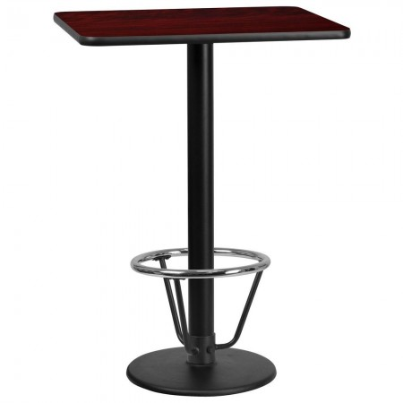 "Flash Furniture XU-MAHTB-2430-TR18B-3CFR-GG 24"" x 30"" Rectangular Mahogany Laminate Table Top with 18"" Round Bar Height Table Base and Foot Ring"