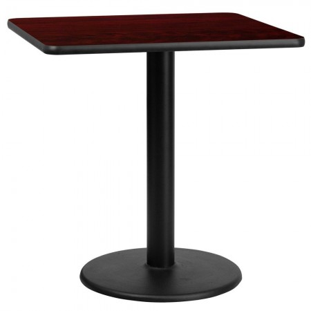 """Flash Furniture XU-MAHTB-3030-TR18-GG 30"""" Square Mahogany Laminate Table Top with 18"""" Round Table Height Base"""