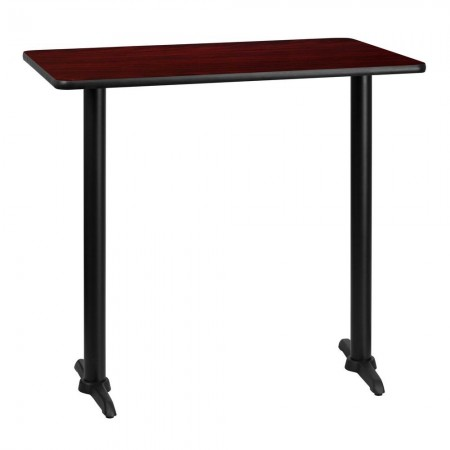 "Flash Furniture XU-MAHTB-3042-T0522B-GG 30"" x 42"" Rectangular Mahogany Laminate Table Top with 5"" x 22"" Bar Height Table Bases"