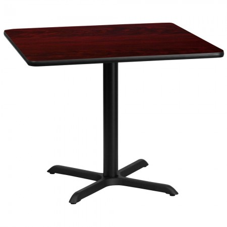 "Flash Furniture XU-MAHTB-3636-T3030-GG 36"" Square Mahogany Laminate Table Top with 30"" x 30"" Table Height Base"