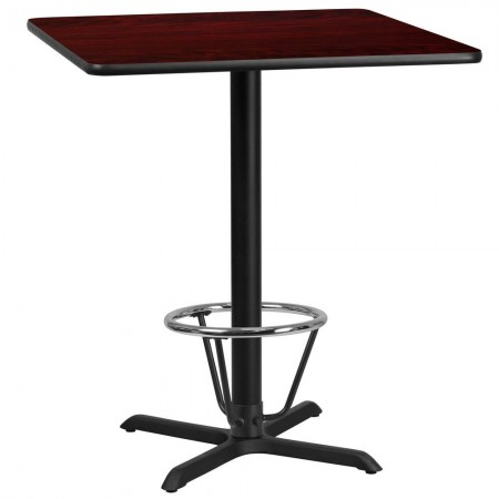 "Flash Furniture XU-MAHTB-3636-T3030B-3CFR-GG 36"" Square Mahogany Laminate Table Top with 30"" x 30"" Bar Height Table Base and Foot Ring"