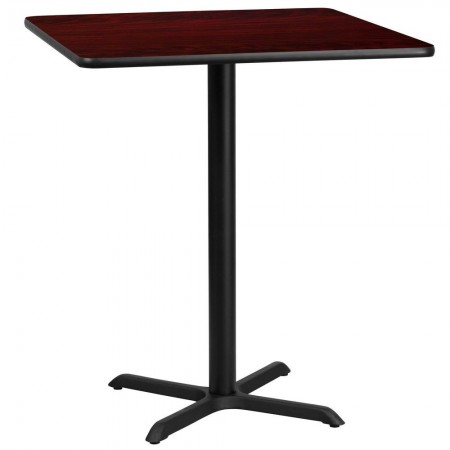 "Flash Furniture XU-MAHTB-3636-T3030B-GG 36"" Square Mahogany Laminate Table Top with 30"" x 30"" Bar Height Table Base"