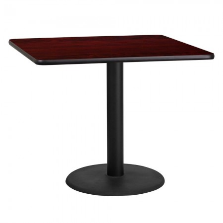 "Flash Furniture XU-MAHTB-3636-TR24-GG 36"" Square Mahogany Laminate Table Top with 24"" Round Table Height Base"