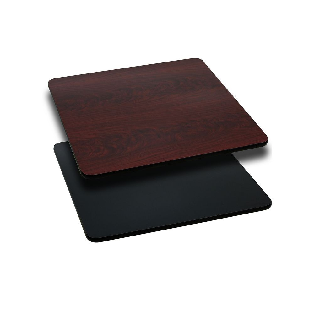 Flash Furniture XU-MBT-2424-GG Square Table Top with Black or Mahogany Reversible Laminate Top 24""