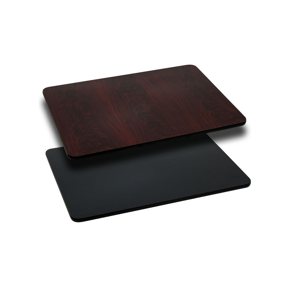 "Flash Furniture XU-MBT-2430-GG Rectangular Table Top with Black or Mahogany Reversible Laminate Top 24"" x 30"""