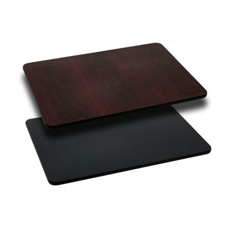 "Flash Furniture XU-MBT-3048-GG 30"" x 48"" Rectangular Table Top with Black or Mahogany Reversible Laminate Top"