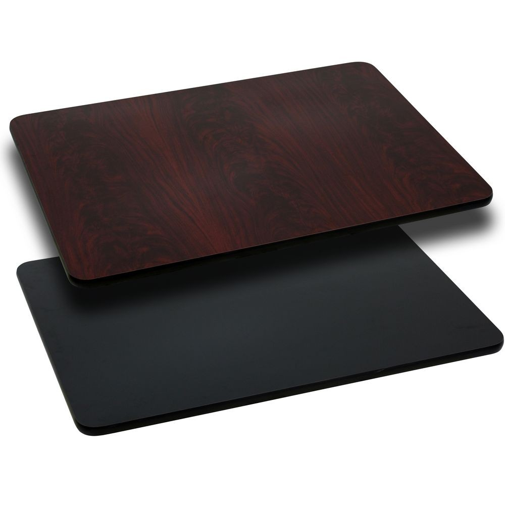 Flash Furniture XU-MBT-3060-GG 30'' x 60'' Rectangular Table Top with Black or Mahogany Reversible Laminate Top
