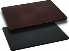 "Flash Furniture XU-MBT-3060-GG 30"" x 60"" Rectangular Table Top with Black or Mahogany Reversible Laminate Top"