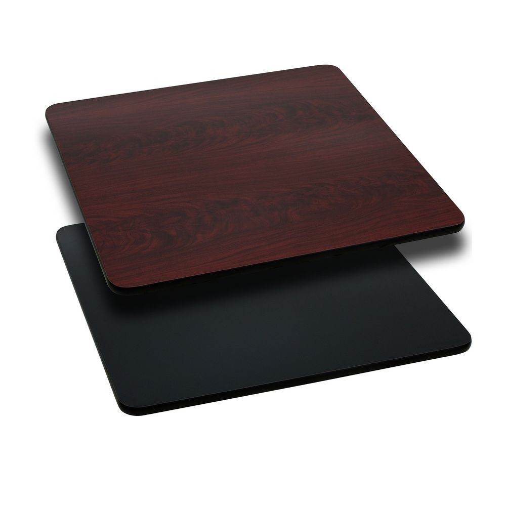 Flash Furniture XU-MBT-3636-GG Square Table Top with Black or Mahogany Reversible Laminate Top 36""
