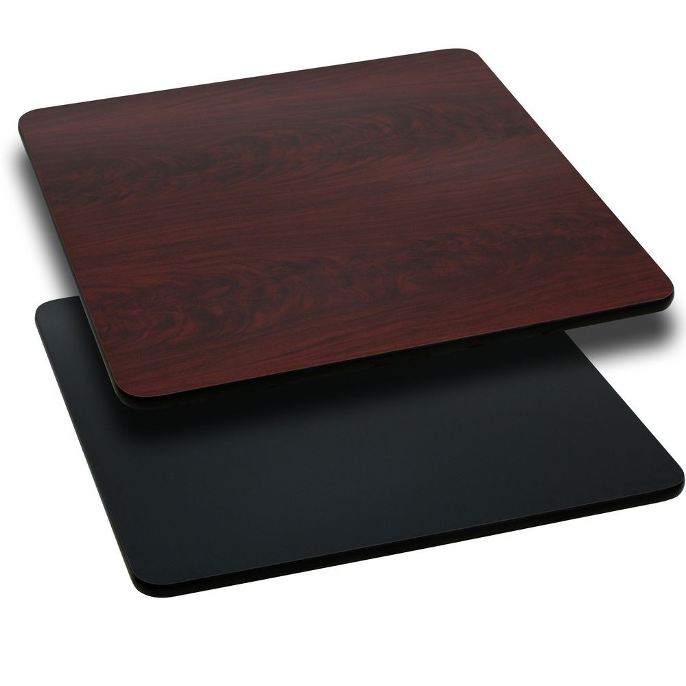 Flash Furniture XU-MBT-4242-GG Square Table Top with Black or Mahogany Reversible Laminate Top 42""