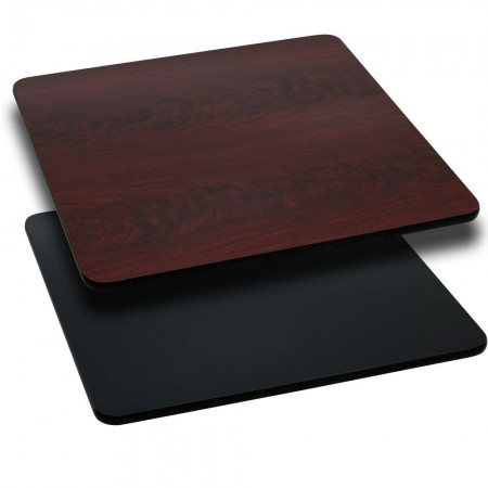 """Flash Furniture XU-MBT-4242-GG 42"""" Square Table Top with Black or Mahogany Reversible Laminate Top"""