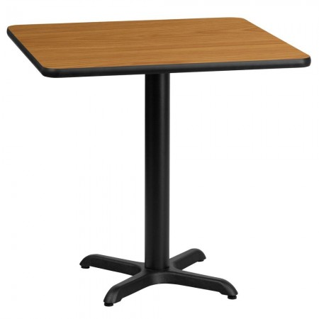 "Flash Furniture XU-NATTB-2424-T2222-GG 24"" Square Natural Laminate Table Top with 22"" x 22"" Table Height Base"