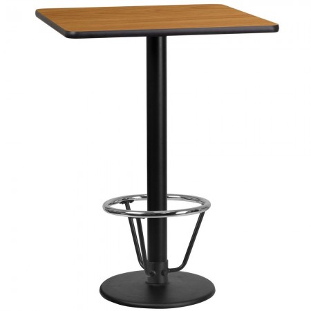 """Flash Furniture XU-NATTB-2424-TR18B-3CFR-GG 24"""" Square Natural Laminate Table Top with 18"""" Round Bar Height Table Base and Foot Ring"""