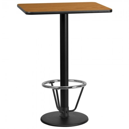 """Flash Furniture XU-NATTB-2430-TR18B-3CFR-GG 24"""" x 30"""" Rectangular Natural Laminate Table Top with 18"""" Round Bar Height Table Base and Foot Ring"""