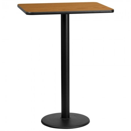 "Flash Furniture XU-NATTB-2430-TR18B-GG 24"" x 30"" Rectangular Natural Laminate Table Top with 18"" Round Bar Height Table Base"
