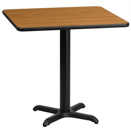 """Flash Furniture XU-NATTB-3030-T2222-GG 30"""" Square Natural Laminate Table Top with 22"""" x 22"""" Table Height Base"""