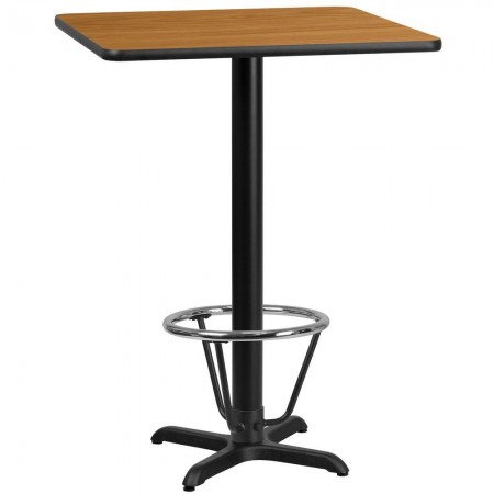 """Flash Furniture XU-NATTB-3030-T2222B-3CFR-GG 30"""" Square Natural Laminate Table Top with 22"""" x 22"""" Bar Height Table Base and Foot Ring"""