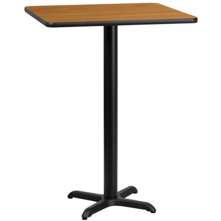 """Flash Furniture XU-NATTB-3030-T2222B-GG 30"""" Square Natural Laminate Table Top with 22"""" x 22"""" Bar Height Table Base"""