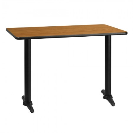 "Flash Furniture XU-NATTB-3042-T0522-GG 30"" x 42"" Rectangular Natural Laminate Table Top with 5"" x 22"" Table Height Bases"