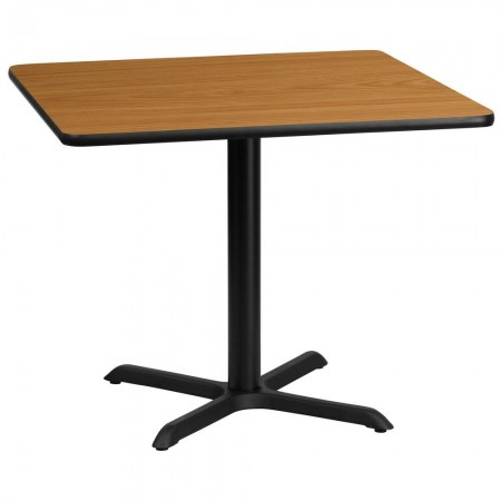 "Flash Furniture XU-NATTB-3636-T3030-GG 36"" Square Natural Laminate Table Top with 30"" x 30"" Table Height Base"