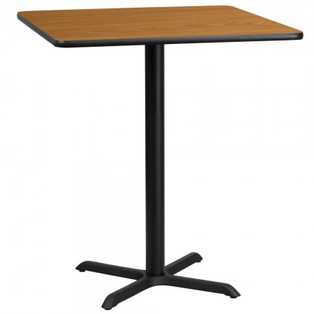 """Flash Furniture XU-NATTB-3636-T3030B-GG 36"""" Square Natural Laminate Table Top with 30"""" x 30"""" Bar Height Table Base"""