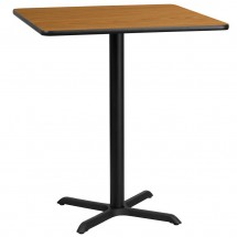 Flash Furniture XU-NATTB-3636-T3030B-GG 36 Square Natural Laminate Table Top with 30 x 30 Bar Height Table Base