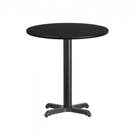 """Flash Furniture XU-RD-24-BLKTB-T2222-GG 24"""" Round Black Laminate Table Top with 22"""" x 22"""" Table Height Base"""