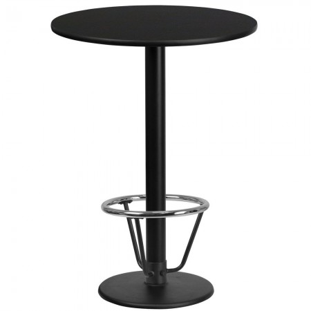 "Flash Furniture XU-RD-24-BLKTB-TR18B-3CFR-GG 24"" Round Black Laminate Table Top with 18"" Round Bar Height Table Base and Foot Ring"