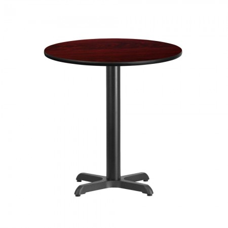 """Flash Furniture XU-RD-24-MAHTB-T2222-GG 24"""" Round Mahogany Laminate Table Top with 22"""" x 22"""" Table Height Base"""