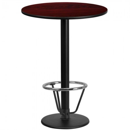 """Flash Furniture XU-RD-24-MAHTB-TR18B-3CFR-GG 24"""" Round Mahogany Laminate Table Top with 18"""" Round Bar Height Table Base and Foot Ring"""