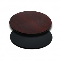 Flash Furniture XU-RD-24-MBT-GG Round Table Top with Black or Mahogany Reversible Laminate Top 24""