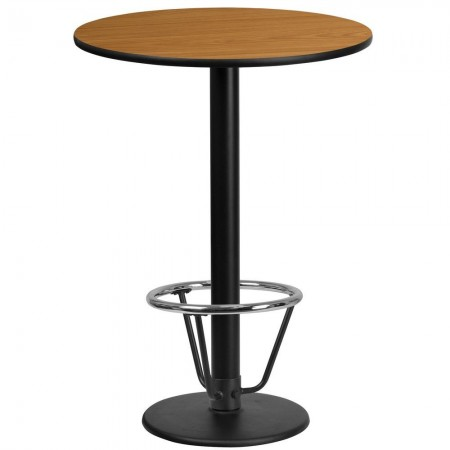 """Flash Furniture XU-RD-24-NATTB-TR18B-3CFR-GG 24"""" Round Natural Laminate Table Top with 18"""" Round Bar Height Table Base and Foot Ring"""