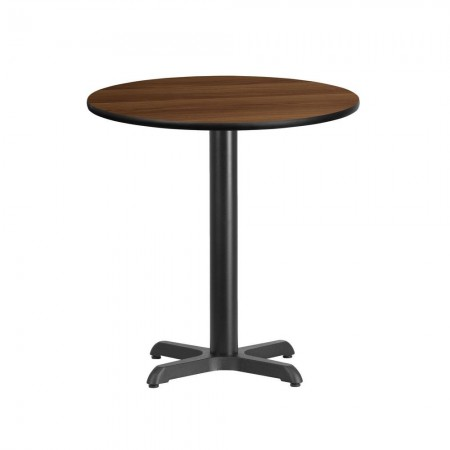 """Flash Furniture XU-RD-24-WALTB-T2222-GG 24"""" Round Walnut Laminate Table Top with 22"""" x 22"""" Table Height Base"""