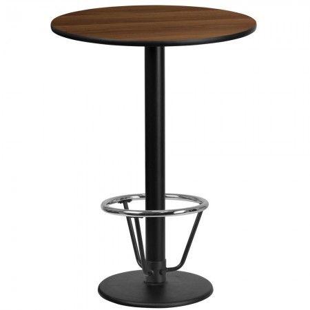 "Flash Furniture XU-RD-24-WALTB-TR18B-3CFR-GG 24"" Round Walnut Laminate Table Top with 18"" Round Bar Height Table Base and Foot Ring"