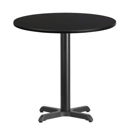 "Flash Furniture XU-RD-30-BLKTB-T2222-GG 30"" Round Black Laminate Table Top with 22"" x 22"" Table Height Base"