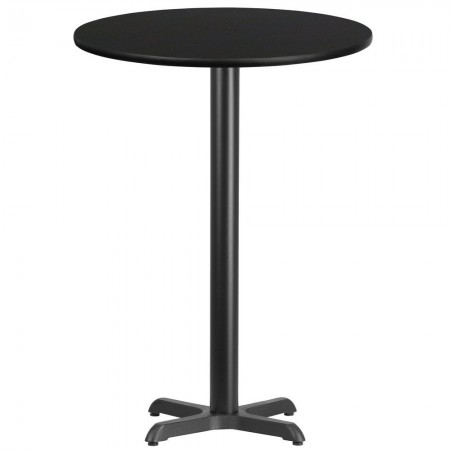 "Flash Furniture XU-RD-30-BLKTB-T2222B-GG 30"" Round Black Laminate Table Top with 22"" x 22"" Bar Height Table Base"