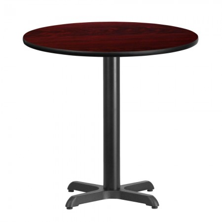 "Flash Furniture XU-RD-30-MAHTB-T2222-GG 30"" Round Mahogany Laminate Table Top with 22"" x 22"" Table Height Base"