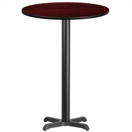 """Flash Furniture XU-RD-30-MAHTB-T2222B-GG 30"""" Round Mahogany Laminate Table Top with 22"""" x 22"""" Bar Height Table Base"""